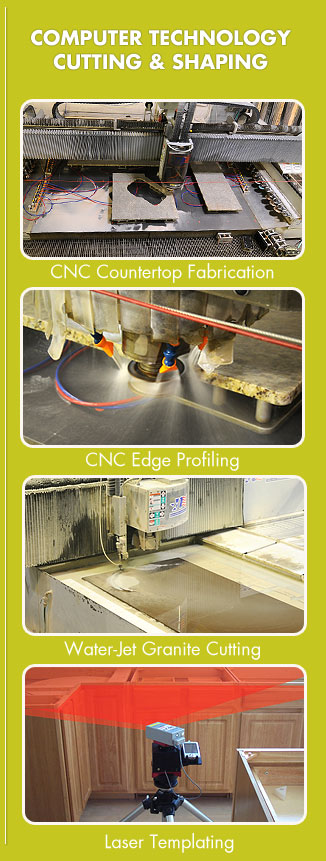 four close ups of stone fabrication cnc machines