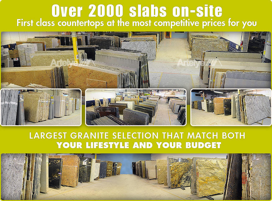 a collage of photos of the inside of a granite fabrication shop in maryland